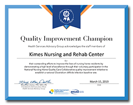 Quality Improvement Champion Award -- click to enlarge